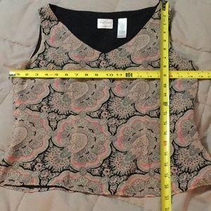 black, pink, grey paisley print size 10 blouse